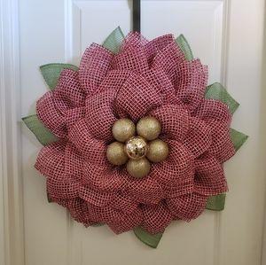 Handmade Large Poinsettia Flower Wreath, Christmas